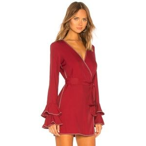 Tularosa Luna Long Sleeve Wrap Dress Burgundy XS